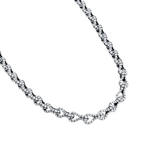 TWISTED BLADE SILVER ALLIGATOR-LINK NECKLACE