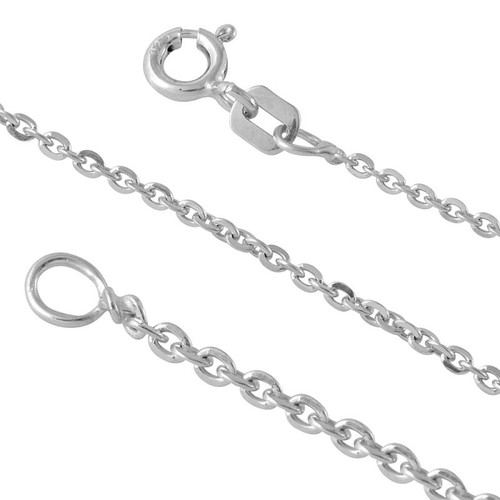 RHODIUM PLATED STERLING SILVER DIAMOND CUT ROLO EDGE 040 CHAIN (1.5MM)
