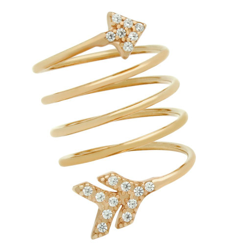 """ROSE GOLD PLATED SPIRAL """"SPRING RING"""" WITH CZ PAVE ARROW HEAD AND TAIL"""