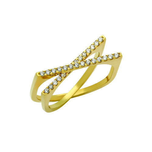 """GOLD PLATED SPLIT-DOUBLE-SHANK """"X"""" RING WITH CZ PAVE"""