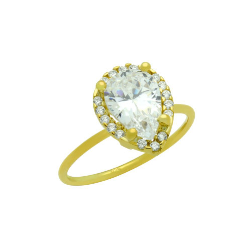 GOLD PLATED 7X10MM CLEAR TEARDROP CZ RING WITH SURROUNDING CZ STONES
