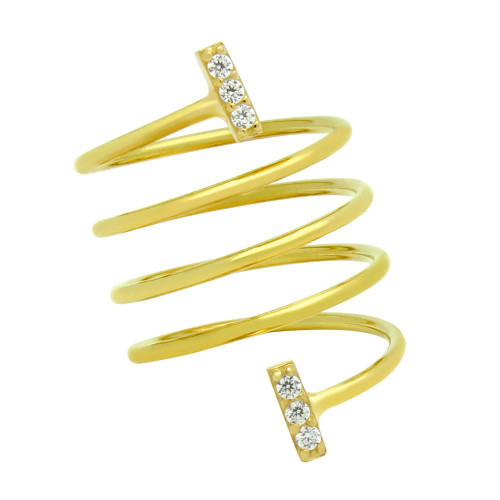 """GOLD PLATED SPIRAL """"SPRING RING"""" WITH CZ PAVE BARS"""