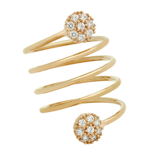 """ROSE GOLD PLATED SPIRAL """"SPRING RING"""" WITH ROUND CZ CLUSTERS"""