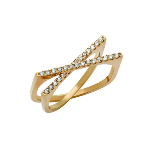 """ROSE GOLD PLATED SPLIT-DOUBLE-SHANK """"X"""" RING WITH CZ PAVE"""
