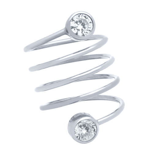 """RHODIUM PLATED SPIRAL """"SPRING RING"""" WITH 5MM CZ"""