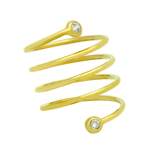 """GOLD PLATED SPIRAL """"SPRING RING"""" WITH 3MM CZ"""