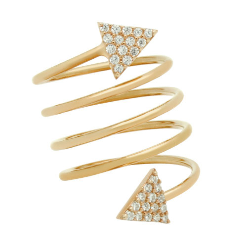 """ROSE GOLD PLATED SPIRAL """"SPRING RING"""" WITH CZ PAVE TRIANGLES"""