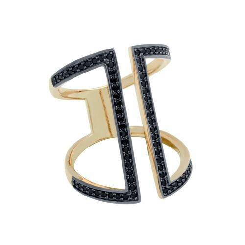 ROSE GOLD PLATED SPLIT GLADIATOR MICRO PAVE CZ RING WITH BLACK RHODIUM ACCENTS