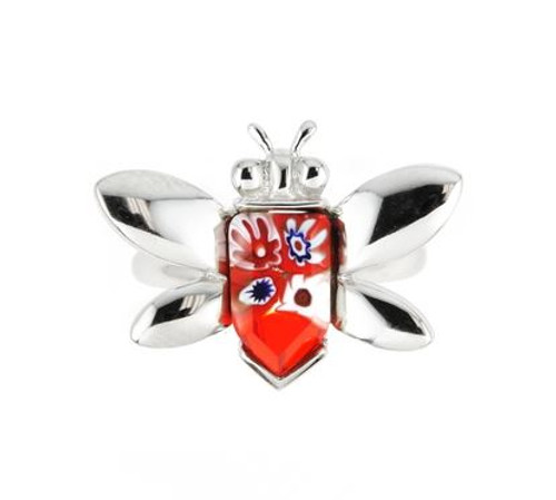 MURANO MILLEFIORI RED FACETED BEE RING