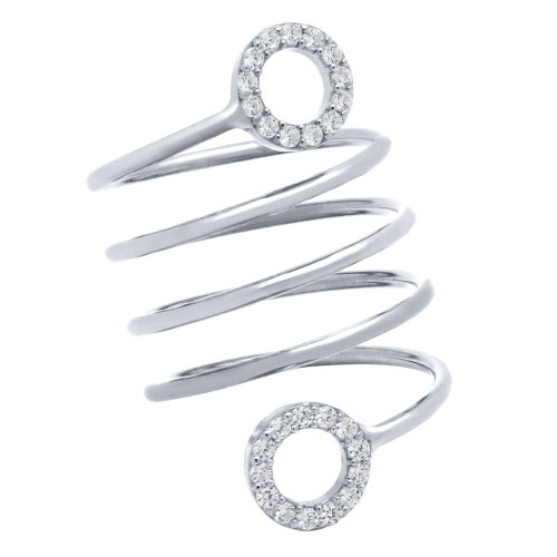 """RHODIUM PLATED SPIRAL """"SPRING RING"""" WITH CZ ETERNITY CIRCLES"""