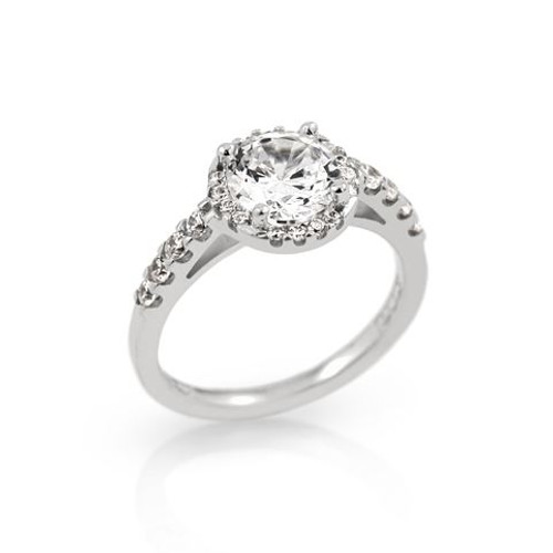 RHODIUM PLATED ROUND CZ ENGAGEMENT RING WITH 8 CZS ON BAND