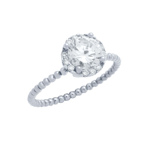 RHODIUM PLATED BEADED DESIGN STACKABLE ENGAGEMENT RING