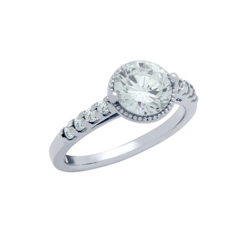 RHODIUM PLATED ROUND CZ HIGH SETTING STYLE ENGAGEMENT RING