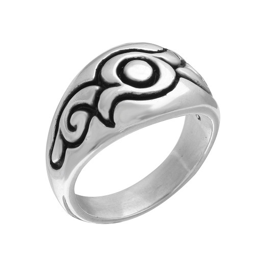 TWISTED BLADE SILVER SWIRL PATTERN RING