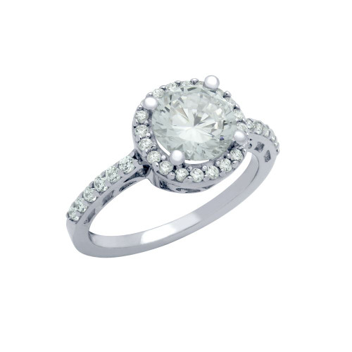 RHODIUM PLATED ROUND CZ FLORAL PATTERN ENGAGEMENT RING