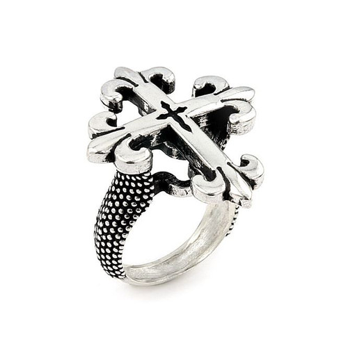 TWISTED BLADE SILVER FLEUR DE LIS CROSS RING
