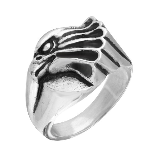 TWISTED BLADE SILVER EAGLE HEAD RING