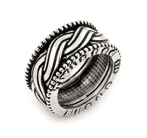 TWISTED BLADE SILVER WOVEN BAND RING