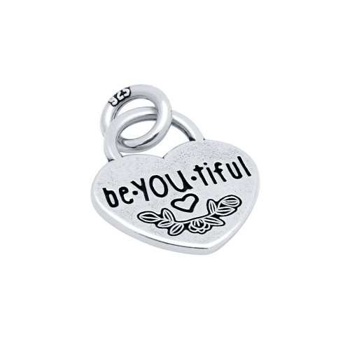 """15MM """"BE.YOU.TIFUL"""" HEART CHARM"""