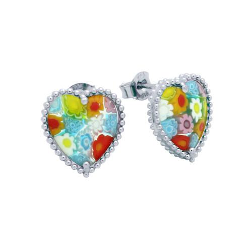 MULTICOLOR MURANO MILLEFIORI HEART SHAPED BEAD DESIGN EARRINGS
