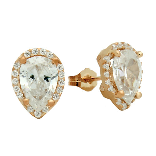 ROSE GOLD PLATED TEARDROP CZ EARRINGS WITH ALL AROUND SMALL CZ STONES