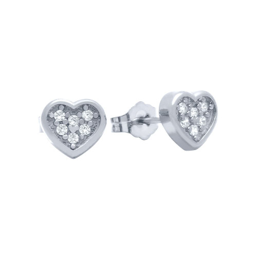 RHODIUM PLATED HEART SHAPED CZ CLUSTER STUD EARRINGS