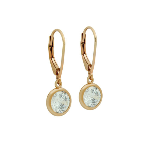 7.5MM ROSE GOLD PLATED ROUND BEZEL SET CZ DANGLING EARRINGS