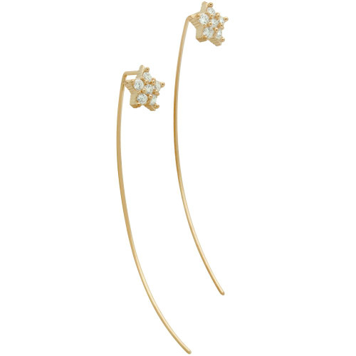 ROSE GOLD PLATED SLIP THROUGH WIRE EARRINGS WITH 8MM CZ PAVE STAR
