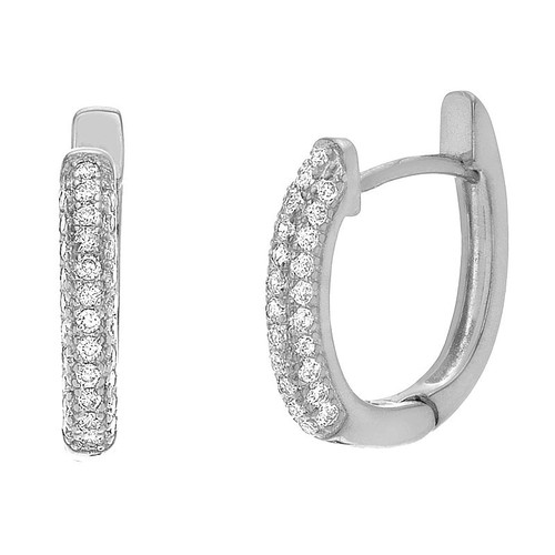 RHODIUM PLATED OVAL HUGGIE EARRINGS WITH 3-ROW CZ PAVE