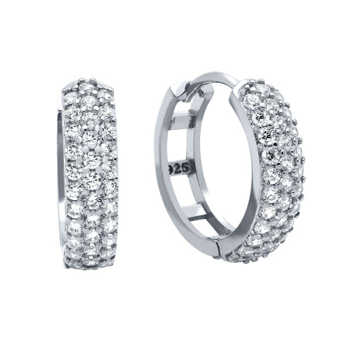 RHODIUM PLATED 17MM ROUND HUGGIE EARRINGS WITH TRIPPLE ROW CZ PAVE
