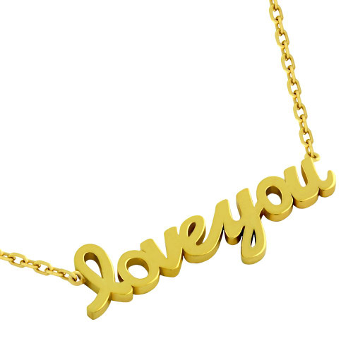 """GOLD PLATED HIGH POLISHED """"LOVE YOU"""" NECKLACE 16"""" + 2"""""""