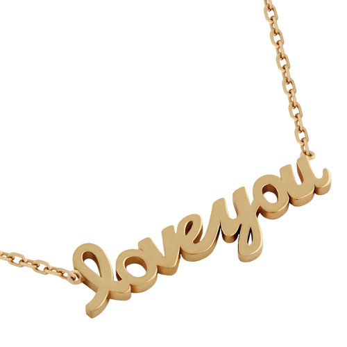 """ROSE GOLD PLATED HIGH POLISHED """"LOVE YOU"""" NECKLACE 16"""" + 2"""""""