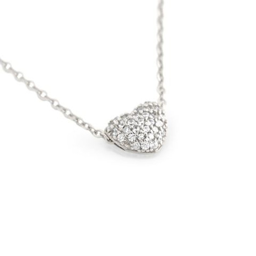 "RHODIUM PLATED DOUBLE SIDED CZ HEART SLIDER NECKLACE 16""+1"""