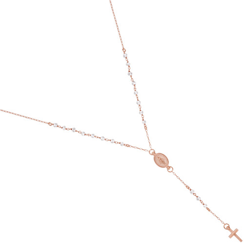 """ROSE GOLD PLATED MOONSTONE ROSARY NECKLACE 18"""" + 2"""""""