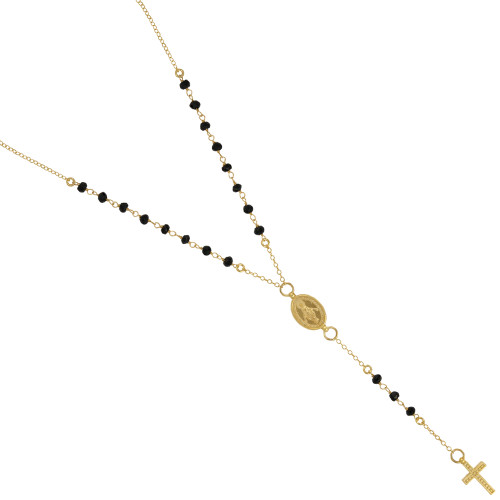 """GOLD PLATED BLACK SPINEL ROSARY NECKLACE 18"""" + 2"""""""