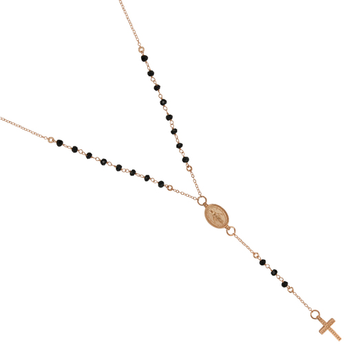 """ROSE GOLD PLATED BLACK SPINEL ROSARY NECKLACE 18"""" + 2"""""""