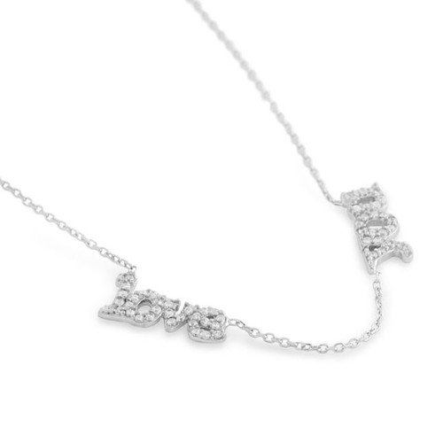 """RHODIUM PLATED CZ """"LOVE YOU"""" NECKLACE IN 16"""" + 2"""""""