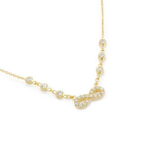 """GOLD PLATED CZ INFINITY NECKLACE IN 16"""" + 2"""""""
