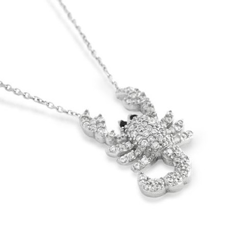 "RHODIUM PLATED CZ SCORPION NECKLACE IN 16"" + 2"""
