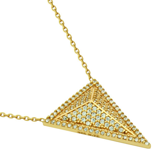"GOLD PLATED TRIANGLE PYRAMID CZ MICRO PAVE NECKLACE 17"" + 2.5"""