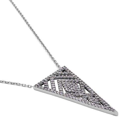 "RHODIUM PLATED CZ TRIANGLE FILIGREE NECKLACE 16.5"" +2"""
