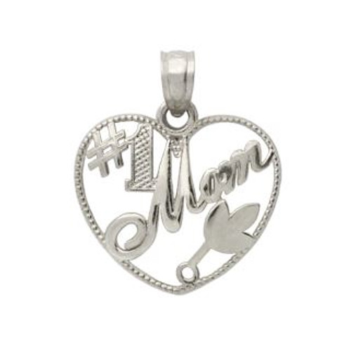 RHODIUM PLATED STERLING SILVER #1 MOM HEART PENDANT