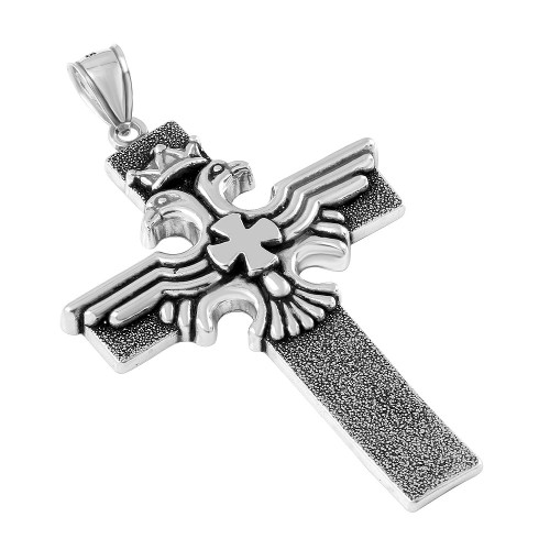 STERLING SILVER 46MM DOUBLE-HEADED EAGLE CROSS PENDANT