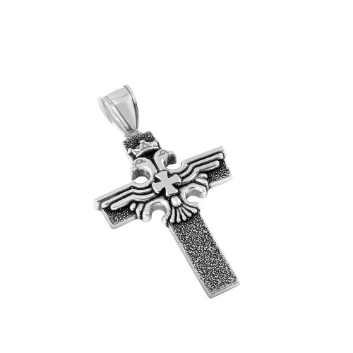 STERLING SILVER 29MM DOUBLE-HEADED EAGLE CROSS PENDANT