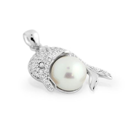 RHODIUM PLATED FRESHWATER PEARL AND CZ DOLPHIN PENDANT
