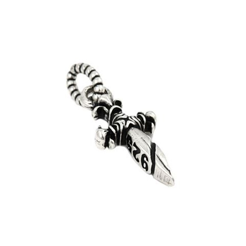TWISTED BLADE SMALL 10MM SILVER DAGGER PENDANT