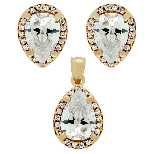 ROSE GOLD PLATED SET: 7X10MM PEAR SHAPE CZ EARRINGS AND PENDANT WITH CZ HALO