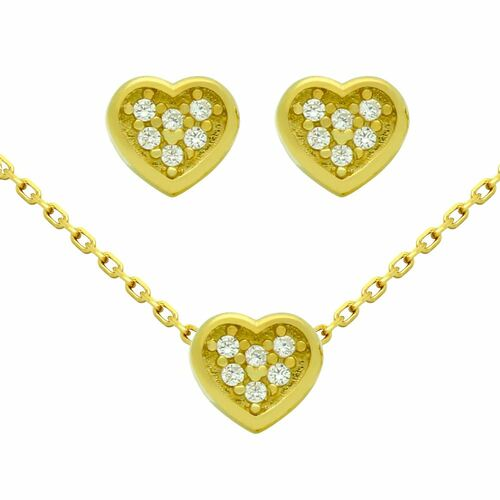 "GOLD PLATED SET: HEART SHAPED CZ CLUSTER EARRINGS AND 16+2"" NECKLACE"