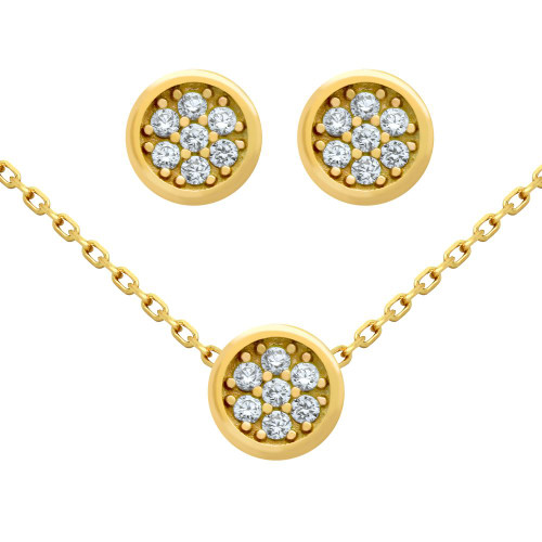 "GOLD PLATED SET: ROUND CZ CLUSTER EARRINGS AND 16+2"" NECKLACE"
