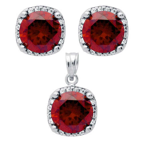 RHODIUM PLATED SET: RED 9MM ROUND CZ IN SQUARE DESIGN EARRINGS AND PENDANT WITH CZ HALO